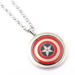 Captain America Necklace Iron Man vs Captain America Hero Rotatable Pendant Necklace Fashion Jewelry For Women Men Kids Toy
