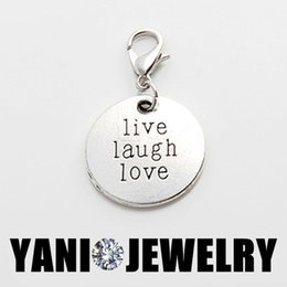Wholesale Round Antique Vintage Silver Alloy Charm Round Live Laugh Love Dangle Charm Pendant for Glass Living Locket