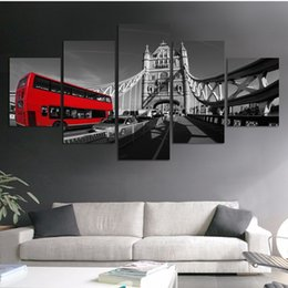 5 Panel Fashion Black and white style scenery painting canvas print wall art picture for home decorations HD Bridge and red bus picture