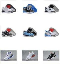 La alta calidad embroma los zapatos de baloncesto 3 retros de los zapatos de baloncesto de los niños Zapatillas de deporte de calidad superior de las muchachas de los muchachos Juego Playoff Golf Zapatos grises con la caja boys games kids for sale desde niños juegos niños proveedores