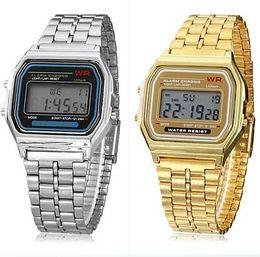 Wholesale 1pcs A159 digital sport watch men TOP Retro vine style watches chronograph wristwatch support dropshipping