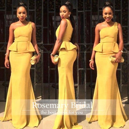 New Arrival One Shoulder Mermaid Long Evening Dresses 2017 Orange Yellow Ruffles Formal Lady Women Prom Gowns African Traditiona Dress Cheap
