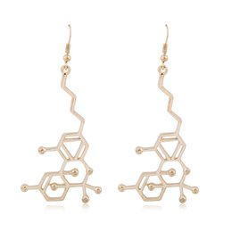 Wholesale Mary Jane THC Molecule Structure Earrings New Trendy Passion Jewelry Chemical Formula Drop Earrings Gift Retail
