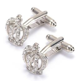 Free shipping 2016 New Mens Gold silver blue Crown Round Cufflinks Cuff Links Shirt Decor Wedding 980015