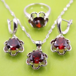 Wholesale 925 Sterling Silver Red Garnet Flower Jewelry Sets Earrings Pendant Necklace Ring For Women Free Gift