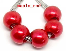 100 PCS red Shiny Imitation Pearl European Big Hole Beads Fit European Bracelet and Necklace Low Price.