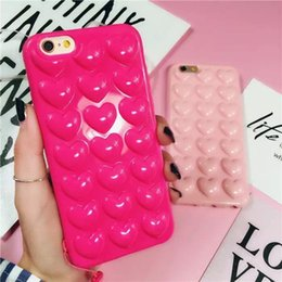 lovely new arrival soft TPU cell phone case for iphone7 7plus fashion girl style heart-shaped phone caver with Pendant line