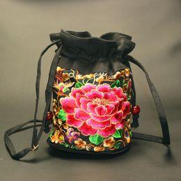 Wholesale 2016 Women Kids Girls Peony Embroidery Bucket Coin Purse Handbag Messenger Shoulder Bag Cross Body Handbags Tote Purse Satchel Hobos B6505