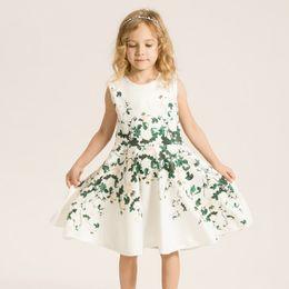 Print Pattern Flower Girl Dress Floral Sleeveless O-neck Knee-length Cotton A-Line Brief Knee-Length Princess Dresses EMS DHL Free Shipping