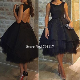 2019 New Arrivals Sexy Prom Dresses Draped A-Line skirts Tulle Backless Sleeveless Tea-Length Evening Dresses beauty style Actually
