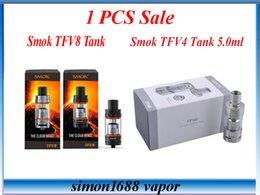 Wholesale 1pcs Sale Smok TFV8 Full Kit Smok TFV4 Single Kit Electronic Cigarette Sub Ohm Tank Fit Smok H Priv W TC Box Mod