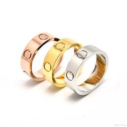 Wholesale 2Pcs Hot Fashion House Card Screw k Gold Diamond Ring LOVE Couple Rings Titanium Steel Jewelry Eternal