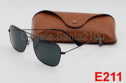 High Quality Fashion Rectangle Sunglasses For Mens Womens Eyewear Sun Glasses Black Metal 58mm Glass Lenses With Better Brown Cases And Box