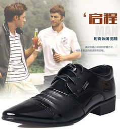 Men's business leather shoes pointed Korean version of the British leather lace-up casual leather men's dress shoes youth