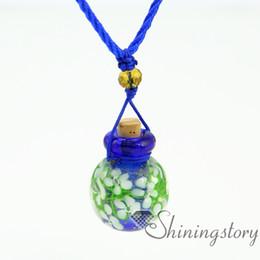 ball flowers inside aromatherapy jewelry wholesale diffuser bracelet aroma necklace glass bottle charm lampwork glass Perfume bottle
