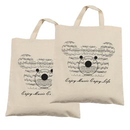 Free Shipping Pure Cotton Bag 2 Pcs Cute Music Bear Thin Protable Shopping bag -2pc Beige