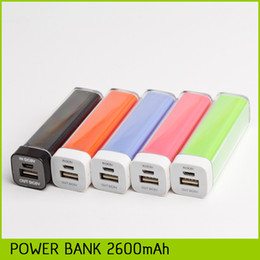 Wholesale 2600mAh Lipstick Power Bank External Backup Battery Banks Charger Emergency Power Pack for All Mobile Phones For Iphone Samsung Huawei