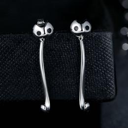 Genuine 925 Sterling Silver Long Dangle Earrings with Cute Cat Animal Women Fine Drop Earrings ER040