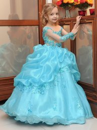 Wholesale Blue Lace Arabic Floral Flower Girl Dresses Organza Ball Gown Child Pageant Dresses Beautiful Flower Girl Wedding Dresses F056