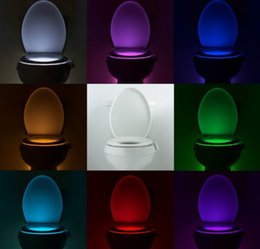 Wholesale Smart LED Motion Auto Sensor Activated Toilet Lamp Light Bathroom With Color Changing Battery Operated Washroom Nightlight