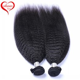 New Product Kinky Straight Hair Brazilian Peruvian Indian Malaysian Cambodian Human Hair Weaves 14-28 inch Natural Black Kinky Straight