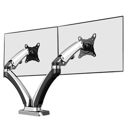 "NB F180 Gas Spring Full Motion 17""-27"" Dual Screen Monitor Holder Desktop Clamping or Gr Audio Port"