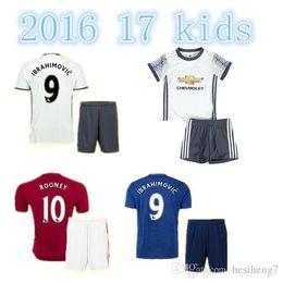 Wholesale 2016 MancHESTER Kit Jerseys Third unITED White IBRAHIMOVIC POGBA Rooney Youth Kids Soccer Jerseys football shirts Shorts socks Uniforms