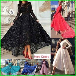 Wholesale Custom Made Lace Long Sleeves Black Evening Dresses Sheer Neck Hi Lo Mauve A line Red Hunter Celebrity Prom Party Gowns Vestidos Arabic