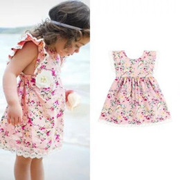 2016 girls pink floral dresses kids casual clothes children summer sleeveless clothing high quality flower dress size 90-130cm