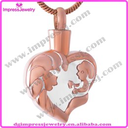 Wholesale IJD9463 Rose Golden Plating Cremation Urns Necklace for Ashes Memorial Keepsake Mom Baby Love Heart Urn Jewelry