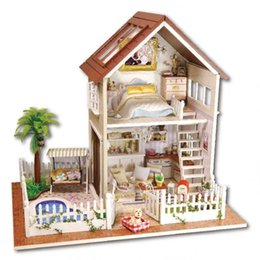 Wholesale 2016 New Wooden Dollhouse Furniture Kids Toys Handmade Gift Diy Doll House Kits With LED Stuff Home Decor Craft Doll Houses Miniature A025