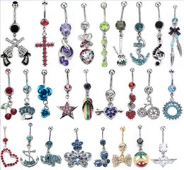 Wholesale Gem mixed different design Belly Button Ring L steel navel body piercing jewelry Piercing for women girl bikini