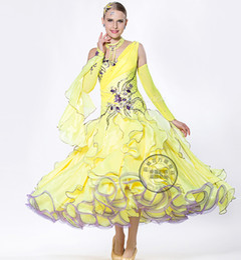 yellow customize Fox trot cha cha ballroom Waltz tango salsa Quick step competition dance dress