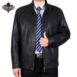 Wholesale Leather Jacket For Large Men - Fall-Leather Jackets For Men Winter Mandarin Collar Solid Color The Thickened Mens Coats Fashion Brand PU Leather Jacket Large size