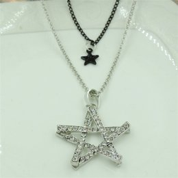 Korean cute five flashing diamond stars black stars double angle female long sweater chain necklace