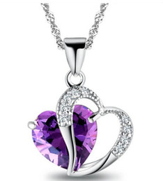 Top Fashion Class Necklace Women Girls Lady Double Heart Crystal Amethyst Necklace&Pendants Fine Jewerly 9 Colors