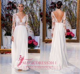 Wholesale Anne Barge A Line Long Sleeve Wedding Dresses Backless Sheer Neck Chiffon Garden Vintage Lace Bridal Gowns Court Train Custom Made