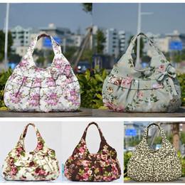 Shipping Women Lady Vintage Bowknot Floral Zipper Leopard Print Canvas Soft Casual Handbag Shoulder Bag