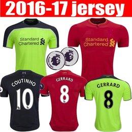 Wholesale 2016 liverpool rd jerseys GERRARD LALLANA LUCAS COUTINHO FIRMINO STURRIDGE MANE Football Shirt camisetas de futbol
