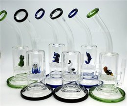 Wholesale 2016 Two Functions heady Glass water pipes Animal Funny Green Turtle Colorful bong elephent Frog honeycomb perc dab oil rig bongs bubbler