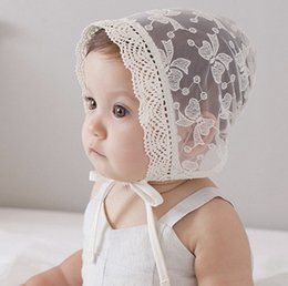 Wholesale Sweet Princess Hollow Out Baby Girl Hat Summer Lace up Beanie lace embroidered Bows Bonnet Enfant for M A8996