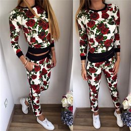 Wholesale 2017 New Arrival Red Rose Printed Women Tracksuits Real Image High Quality Two Pieces T Shirt and Pants Leisure Women Clothing Suits
