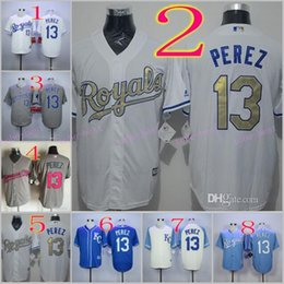 Wholesale 2016 Majestic Official Cool Base MLB Stitched KC Kansas City Royals Salvador Perez White BLue Gray Gold Jerseys Mix Order