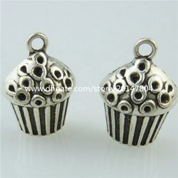 Wholesale 14690 Alloy Antique Silver Vintage Cute Food Delicious Cake Pendant Charm