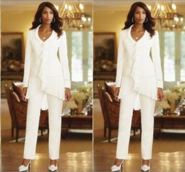 Three Pieces White Ivory 2018 Sheath Elegant Mothers Pants Suits Custom Made Ruffles Chiffon Mother of the Bride Gowns Long Sleeves
