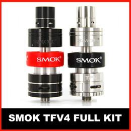 Wholesale SMOK TFV4 Atomizer tank TFV4 Full Kit Top Refilling vs Smok TFV4 Single Kit best quality factory large stock free DHL