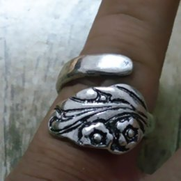 30pcs lot Vintage Spoon Ring Spoon Jewelry Handmade Spoon Rings Silver antiqued plated free shipping