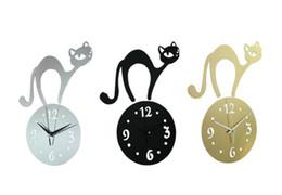 Wholesale Background wall stickers living room bedroom children s room wall clock clock cartoon cat Mirror Wall Stickers Clock
