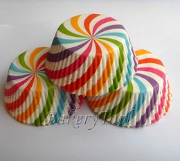 Wholesale Most popular colorful rainbow Baking Cups candy design Cupcake Liners set for baby shower wedding kid s birthday party