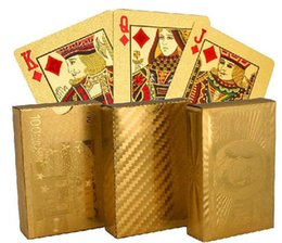 100pcs hot 3 designs Gold foil plated playing cards Plastic Poker US dollar   Euro Style   General style D663